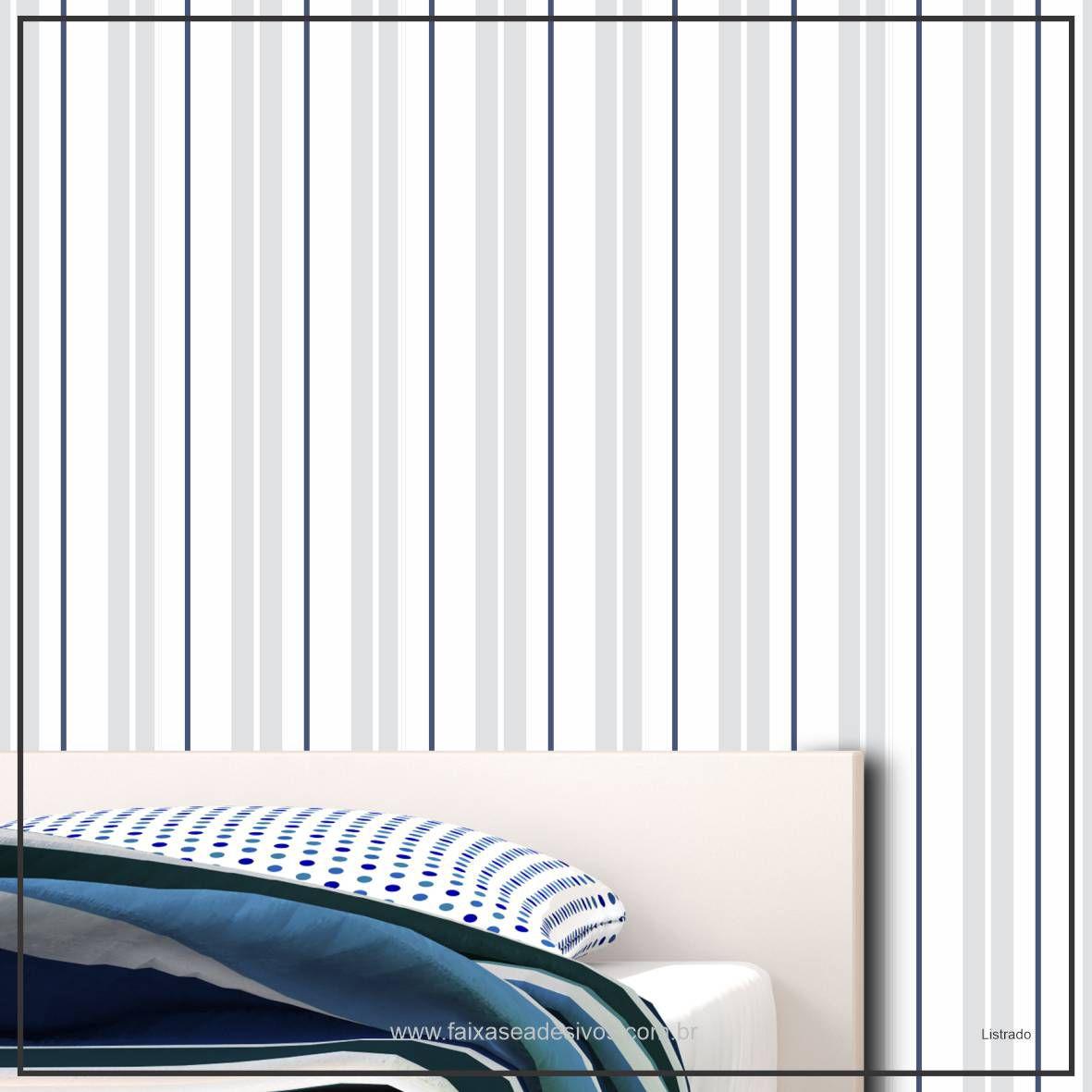 032 - Adesivo Decorativo de parede Listras delicadas cinza - 58cm larg  - Fac Signs