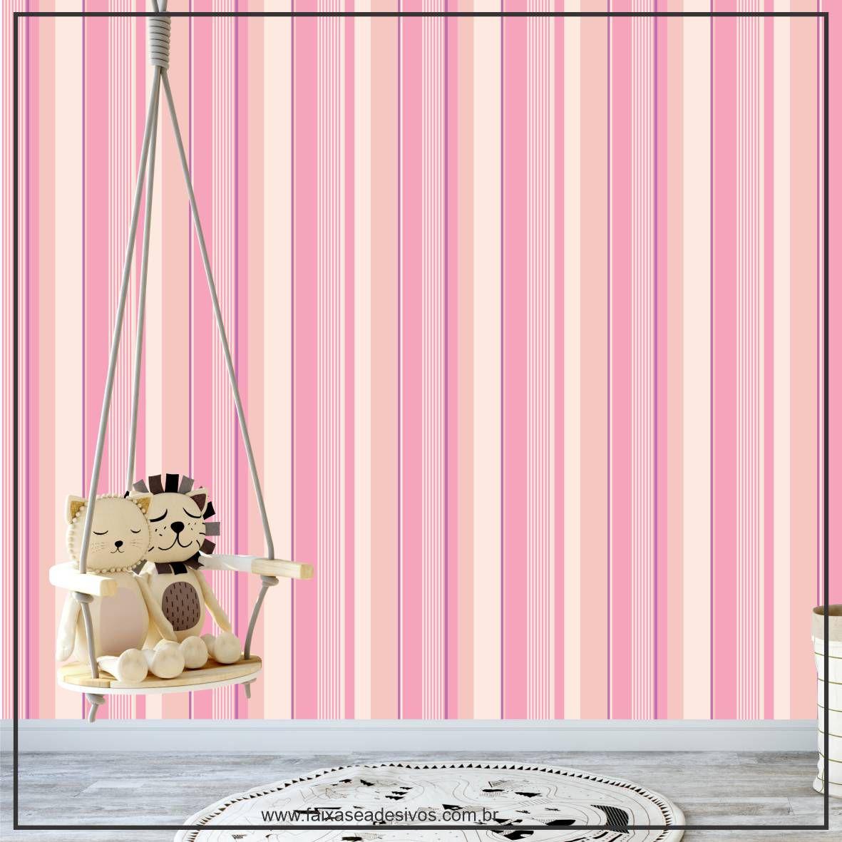 033 - Adesivo Decorativo de parede Listras creme rosa - 58cm larg  - FAC Signs Impressão Digital