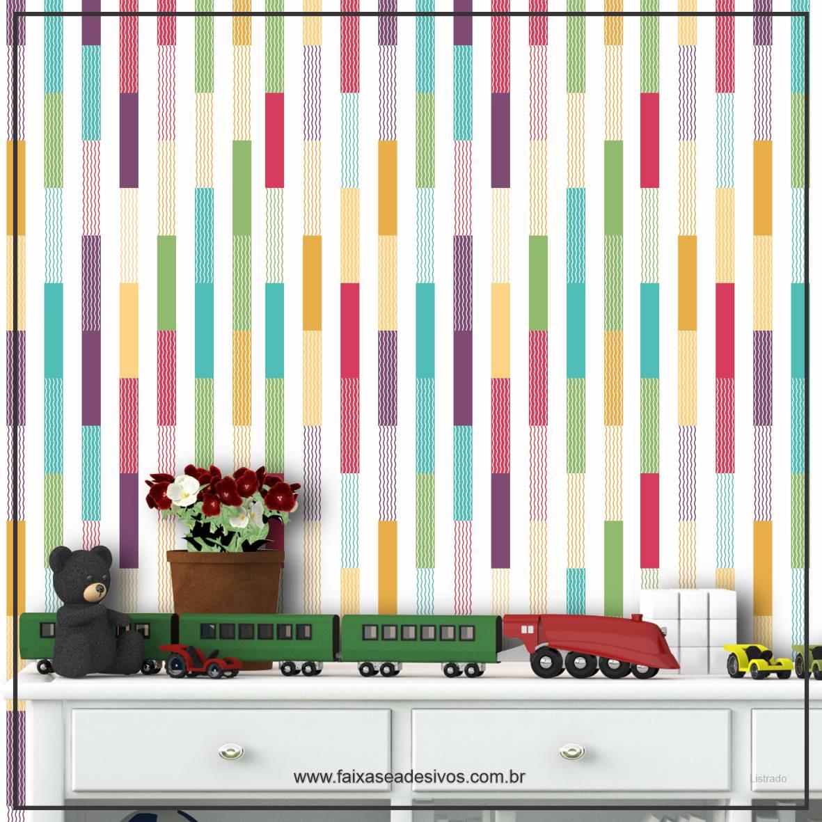 034 - Adesivo Decorativo de parede Listras colorido persona - 58cm larg  - Fac Signs