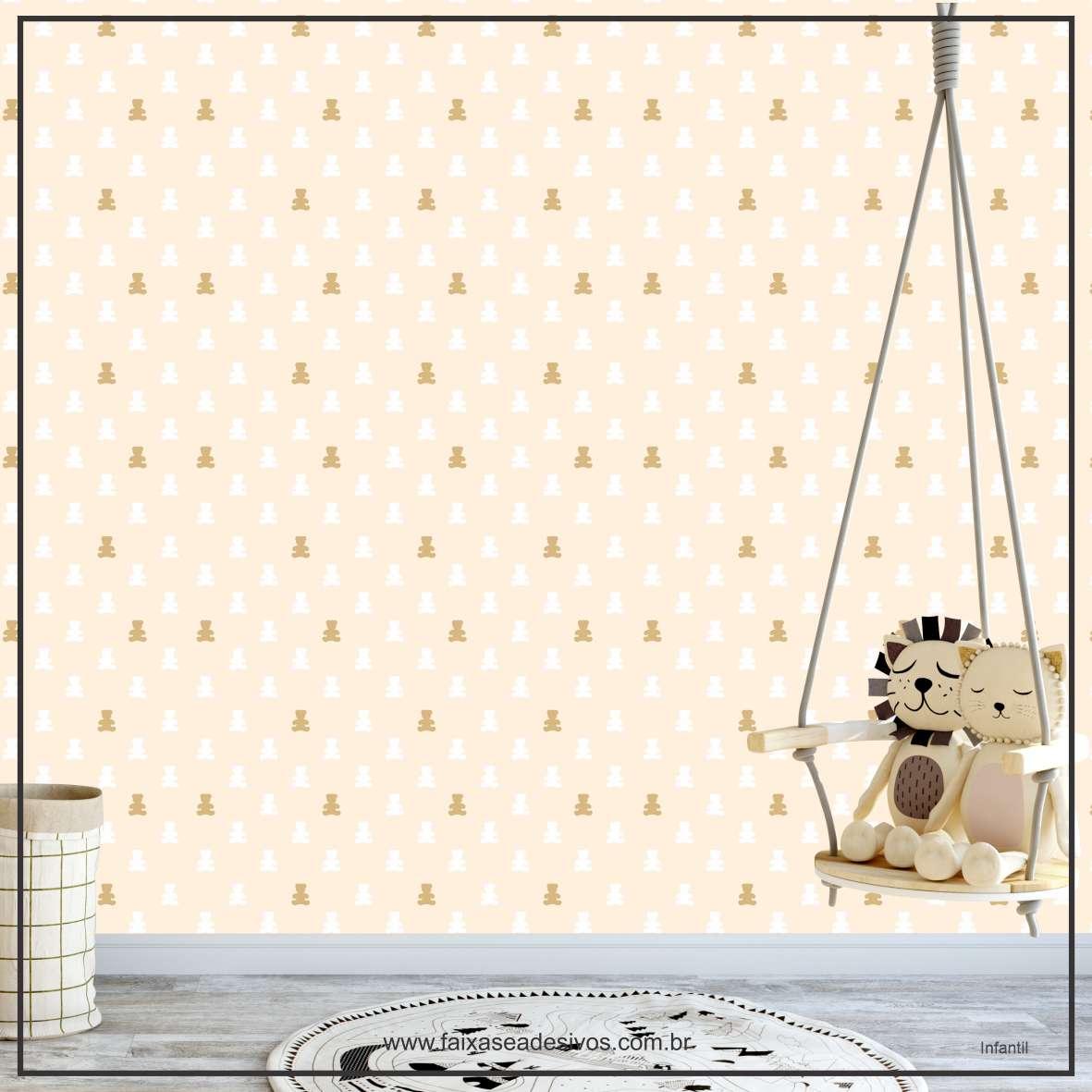 035 - Adesivo Decorativo de parede Infantil bege ursinho - 58cm larg  - Fac Signs