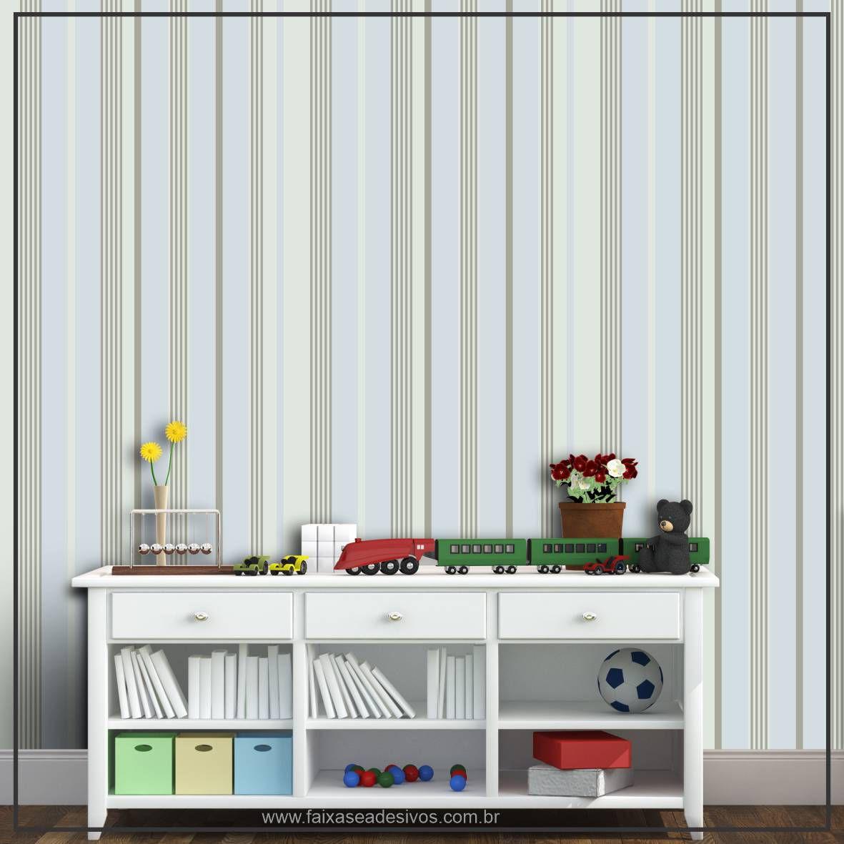 036 - Adesivo Decorativo de parede Listras esverdeado - 58cm larg  - Fac Signs