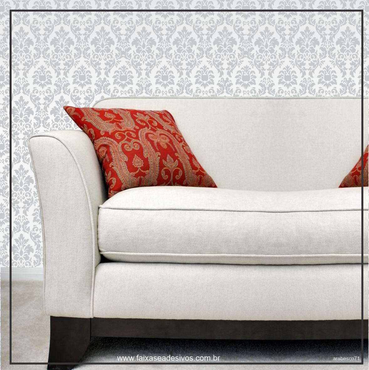 037 - Adesivo Decorativo de parede arabesco cinza - 58cm larg  - Fac Signs