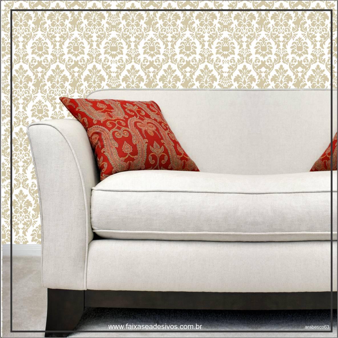 038 - Adesivo Decorativo de parede arabesco dourado - 58cm larg  - Fac Signs