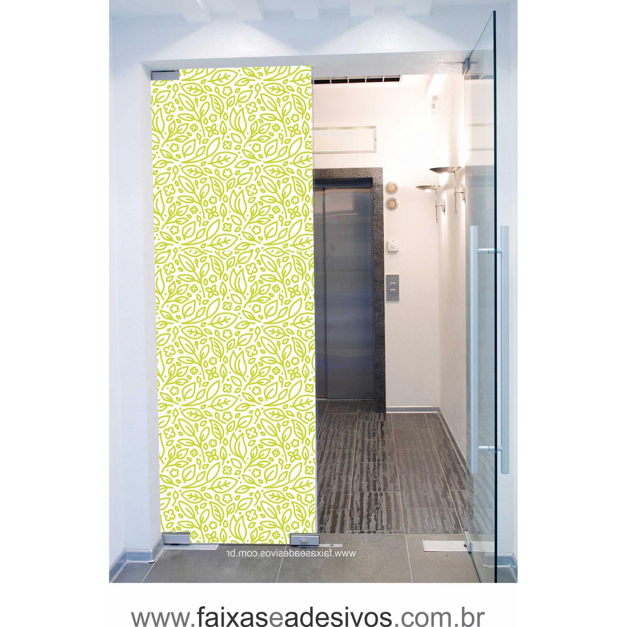 058 VD - Adesivo Jateado para vidro Folhas Cartoon  220x70cm  - Fac Signs