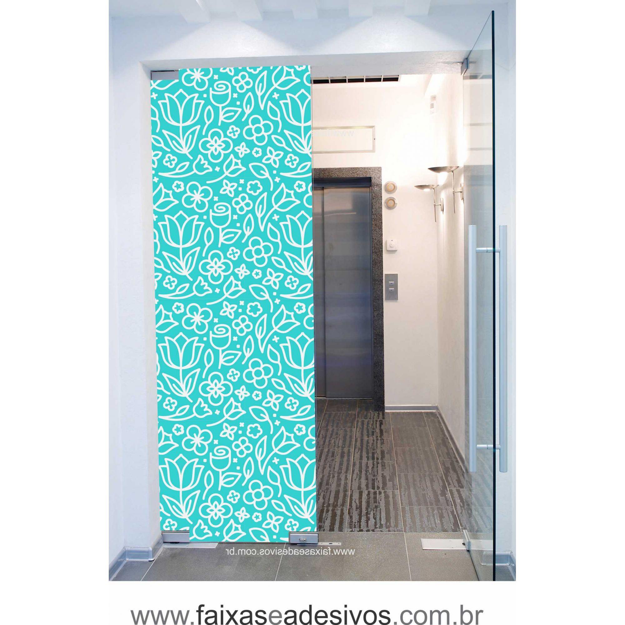 059 VD - Adesivo Jateado para vidro Flores Cartoons  220x70cm  - Fac Signs