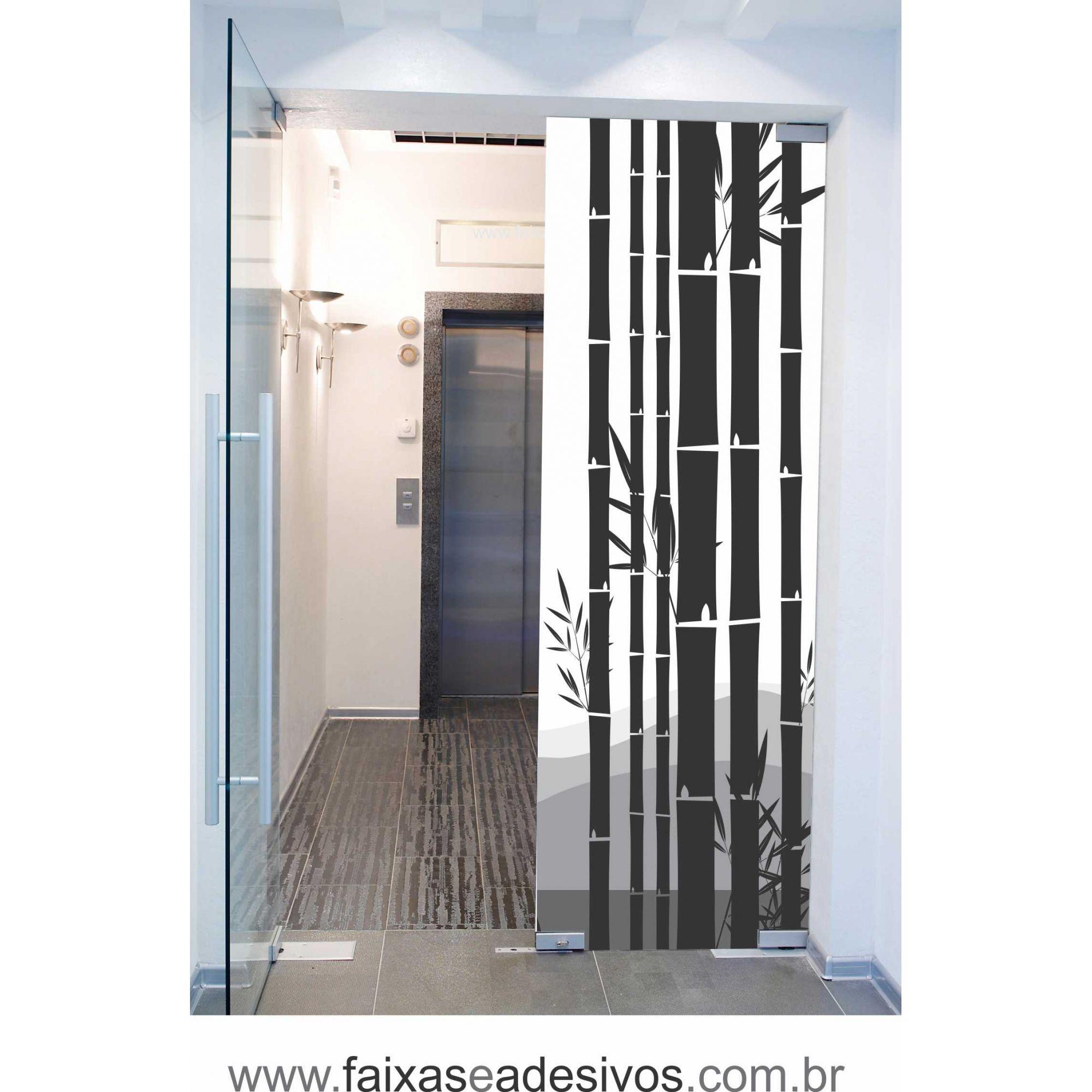 062 VD - Adesivo Jateado para vidro Bambuzal  220x70cm  - FAC Signs Impressão Digital