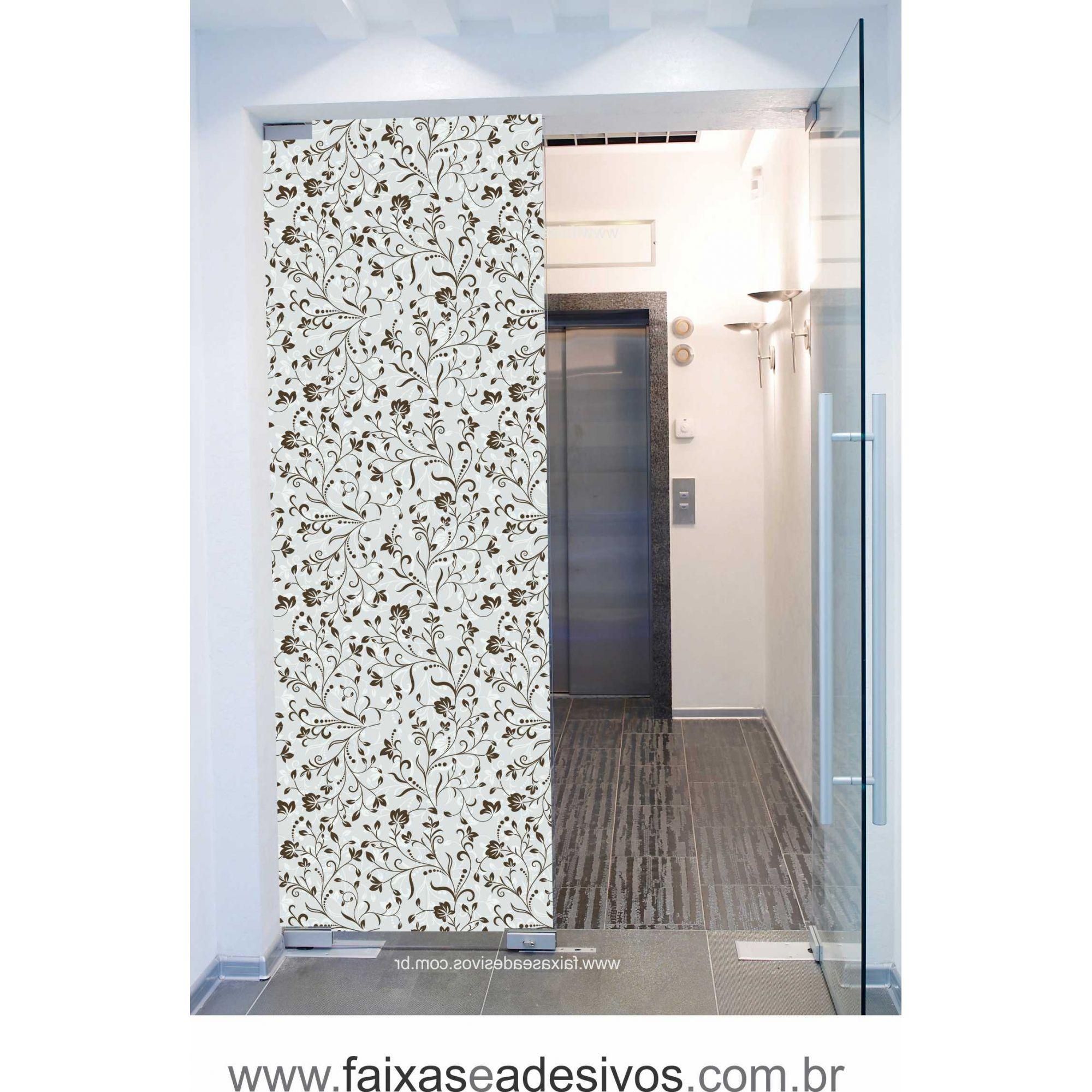 069 VD - Adesivo Jateado para vidro Floralzinho  210x70cm  - Fac Signs