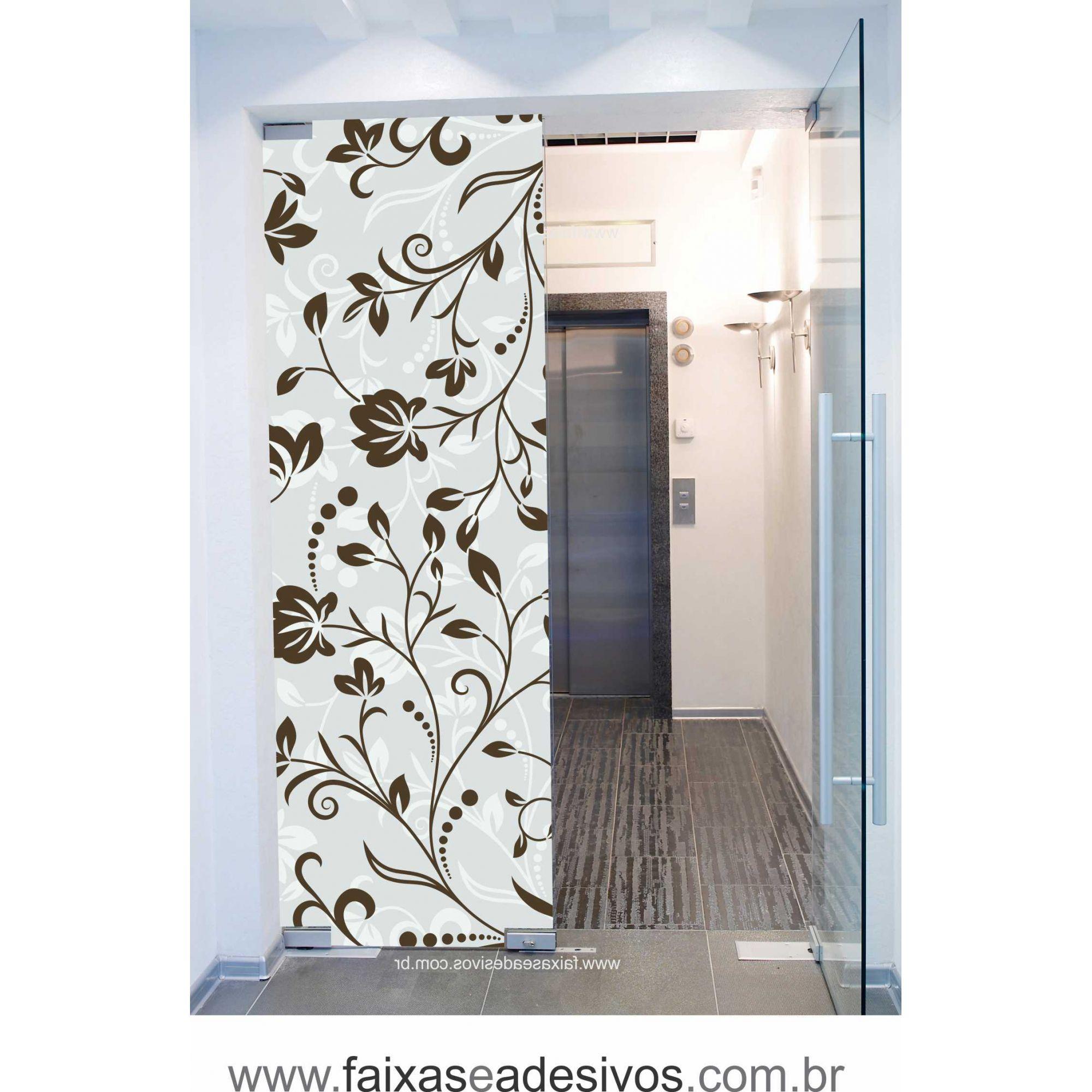 070 VD - Adesivo Jateado para vidro Floral grande  210x70cm  - Fac Signs
