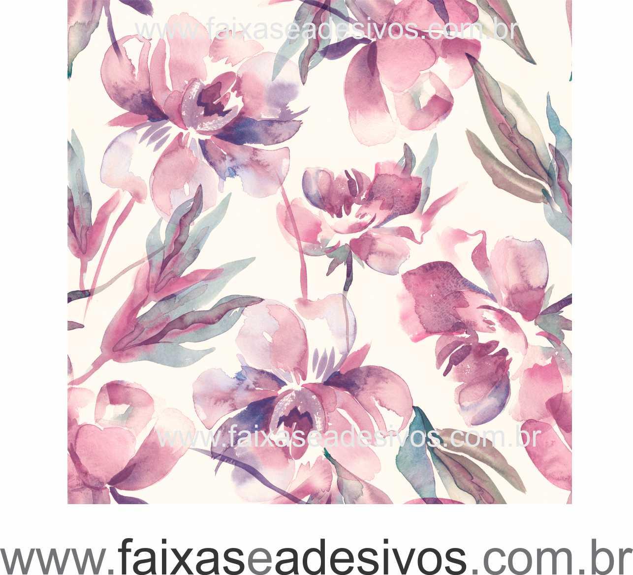 072 VD - Adesivo Jateado para vidro Flor em aquarela  210x70cm  - Fac Signs
