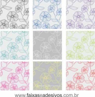 073 VD - Adesivo Jateado para vidro Flor em riscos 220x70cm  - Fac Signs