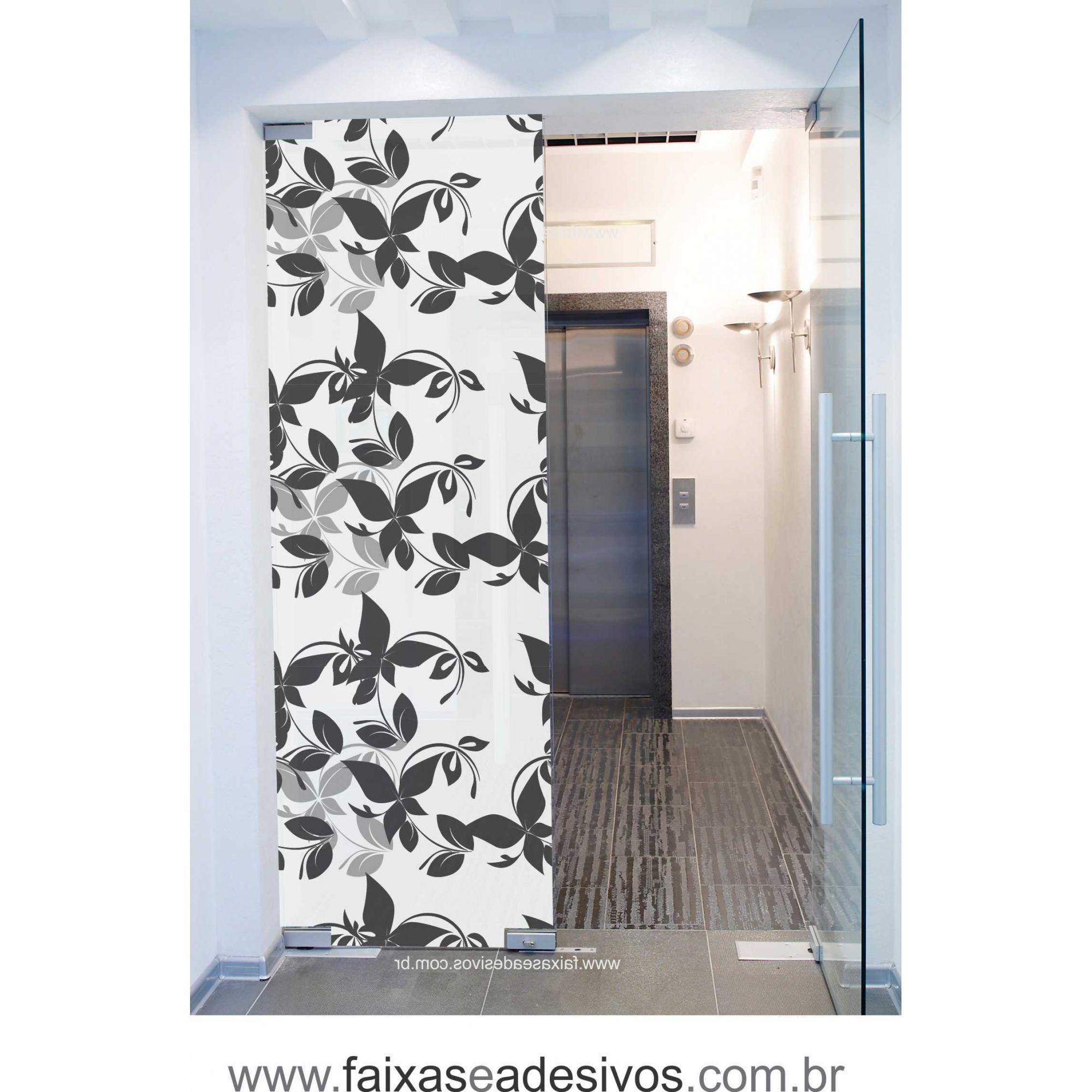 074 VD - Adesivo Jateado para vidro Flor Butterfly 220x70cm  - Fac Signs