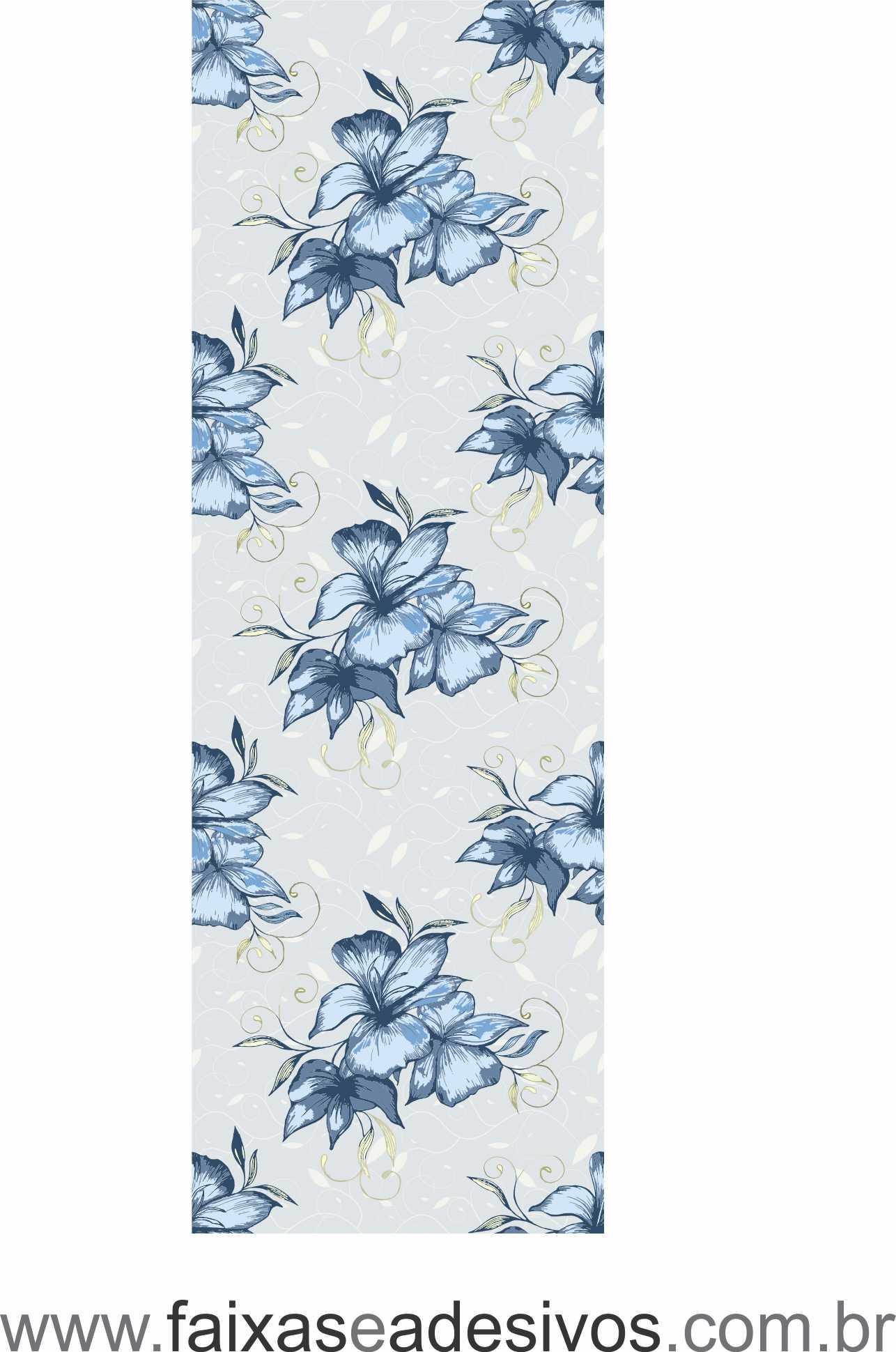 075 VD - Adesivo Jateado para vidro Floral Blue 220x70cm  - FAC Signs Impressão Digital