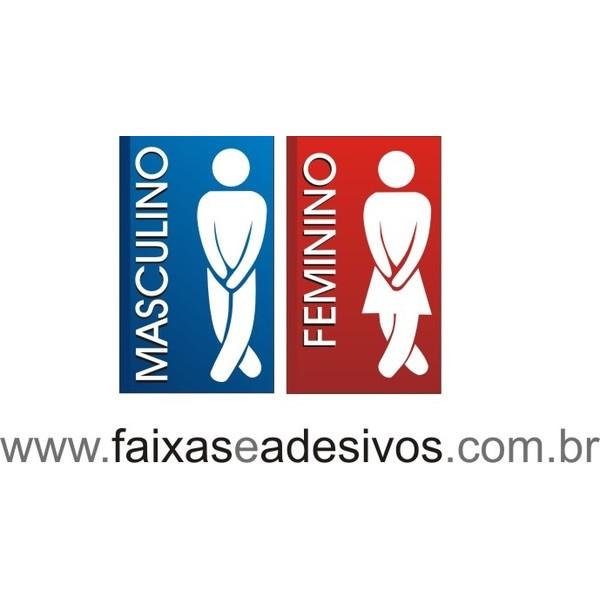 Placa Sanitário wc Ícone 20x15cm - Masc e Fem  - FAC Signs Impressão Digital