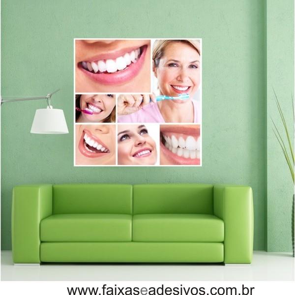Placa com foto sorriso Mosaico 90x90cm  - FAC Signs Impressão Digital