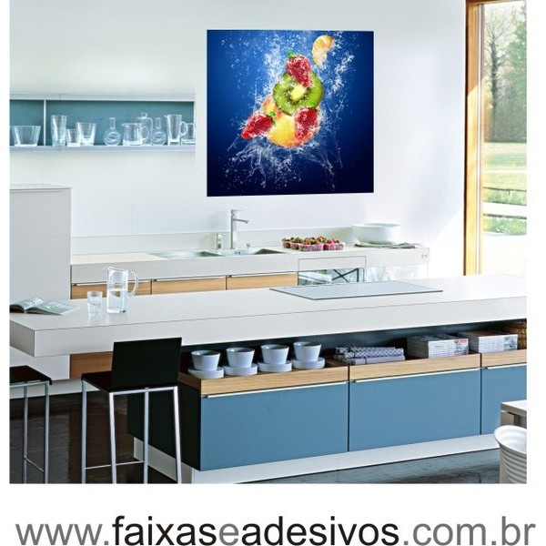 Placa Decorativa de Frutas Splash cor 1,00 x 1,00m  - FAC Signs Impressão Digital