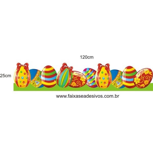 AP408 - Adesivo Barrado Ovos de Páscoa Alegre  - Fac Signs