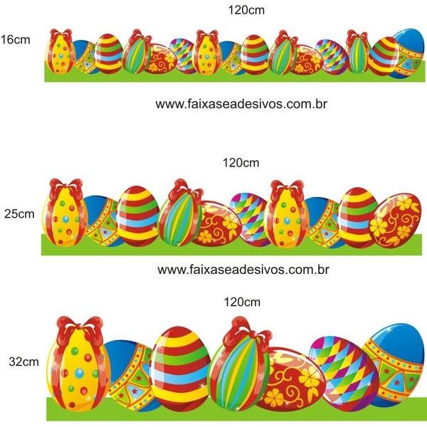 AP408 - Adesivo Barrado Ovos de Páscoa Alegre  - FAC Signs Impressão Digital