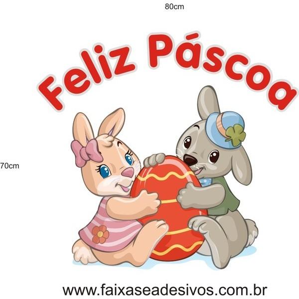 Feliz Páscoa coelhinhos meigos adesivo  - FAC Signs Impressão Digital