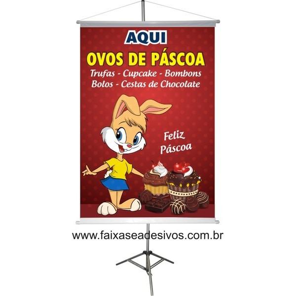 Banner Ovos de Páscoa Aqui 0,80 x 0,60m  - FAC Signs Impressão Digital