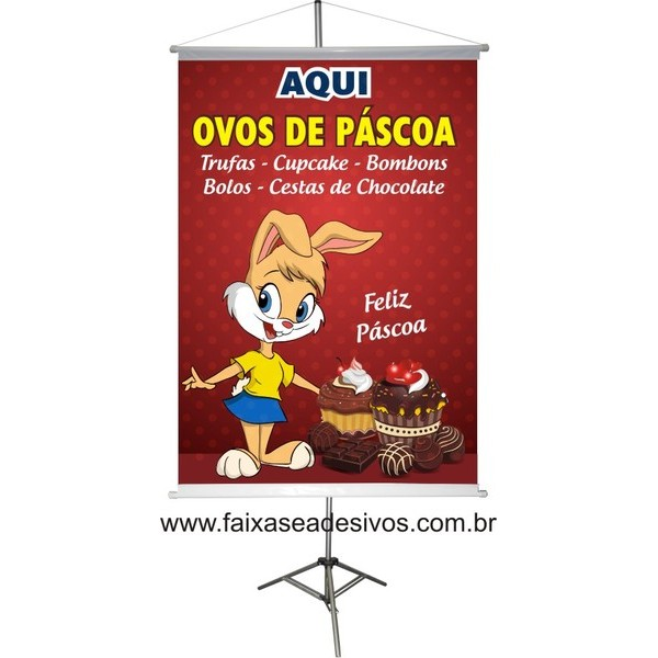 Banner Ovos de Páscoa Aqui 0,80 x 0,60m  - Fac Signs