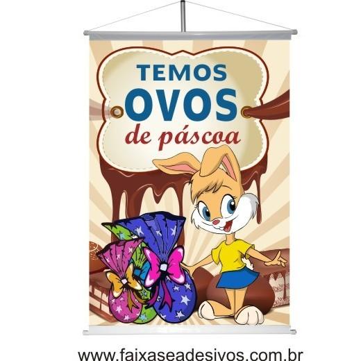 Banner Temos Ovos de Páscoa 1,20 x 0,80m  - FAC Signs Impressão Digital
