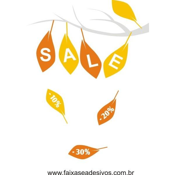 Adesivo Outono Inverno Folhas 50 x 65cm  - FAC Signs Impressão Digital