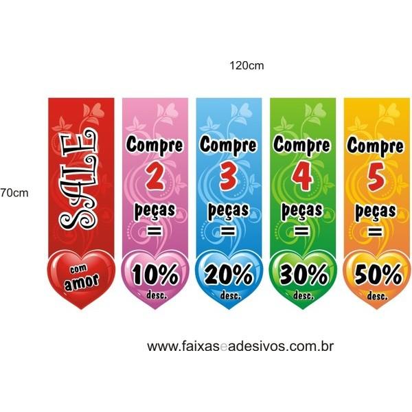 Adesivo Desconto Progressivo Flamulas 1,20 x 0,70m  - FAC Signs Impressão Digital