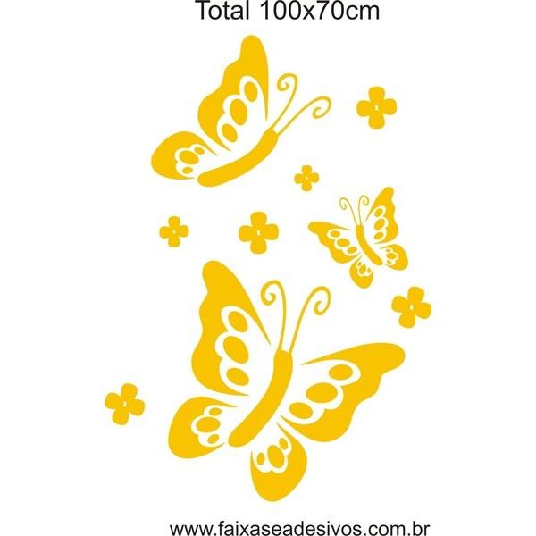 Borboletas e Flores 1,00 x 0,70m adesivo  - FAC Signs Impressão Digital