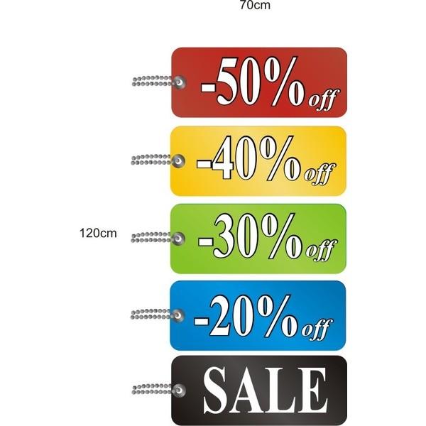 Adesivo Tag Cores Vertical Sale 1,20 x 0,70m  - FAC Signs Impressão Digital