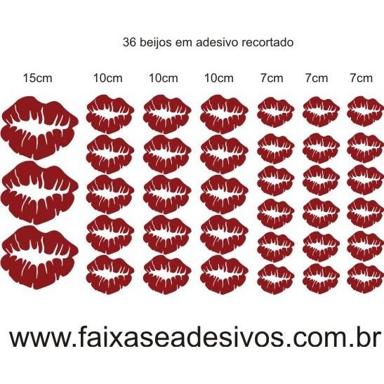 Adesivo Cartela em Recorte com 36 Beijos  - Fac Signs