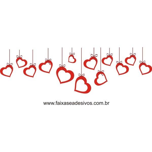 Adesivo Coração Vazado com Fita 2,30 x 0,70,  - FAC Signs Impressão Digital