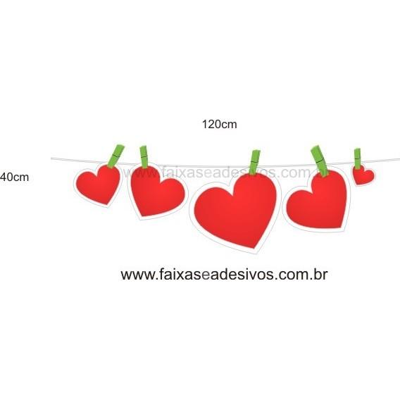 Adesivo Varal de Corações 1,20 x 0,40m  - Fac Signs