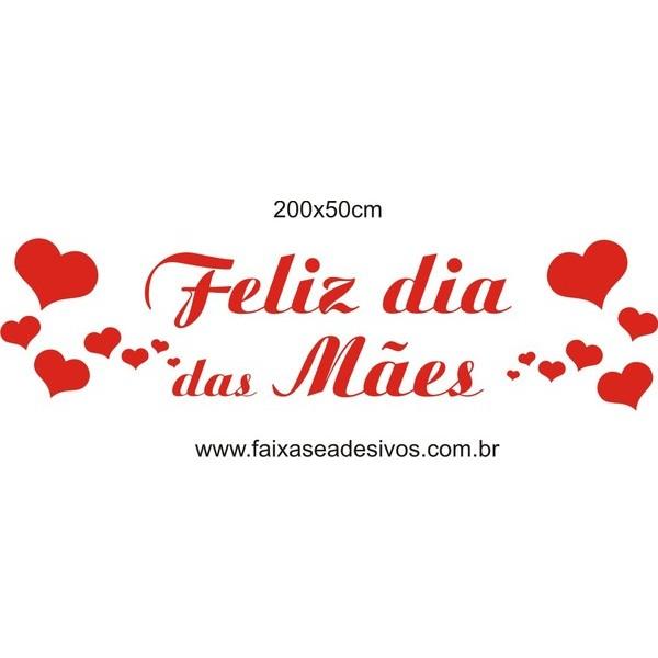 Adesivo Dia das Mães com Amor 2,00 x 0,50m  - Fac Signs