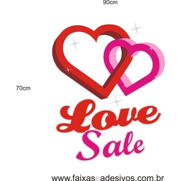 Adesivo Love Sale Corações 60 x 40cm  - Fac Signs