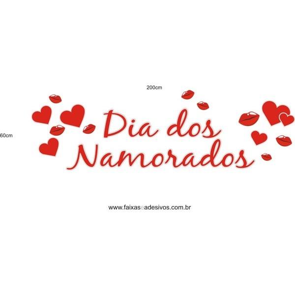 Adesivo Namorados com Beijos e Corações 2,00 x 0,60m  - FAC Signs Impressão Digital