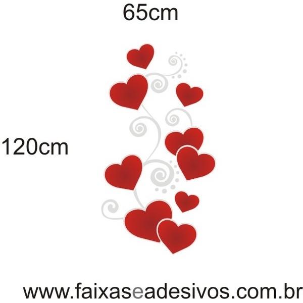 Adesivo Arabesco Corações Curvas do Amor 1,20 x 0,65m  - Fac Signs