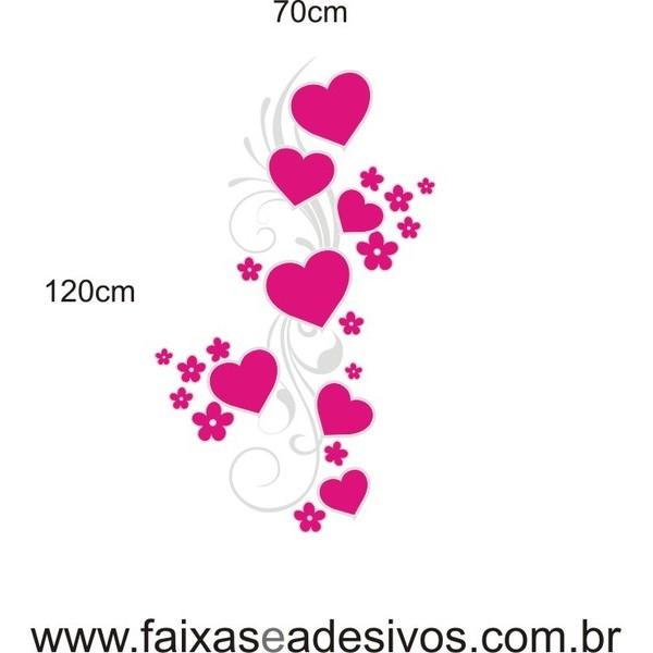 Arabesco Corações Alegre PINK 1,20 x 0,70m  - FAC Signs Impressão Digital