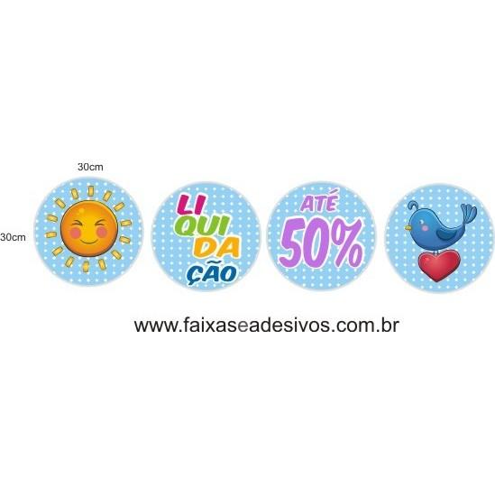 Adesivo Boton Kids 4 peças 30cm diâmetro  - FAC Signs Impressão Digital