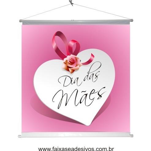 Banner Dia das Mães Coração Branco 60 x 60cm  - Fac Signs