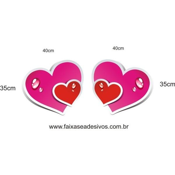 Adesivo Coração Molhado 0,40 x 0,35cm 2 peças  - Fac Signs