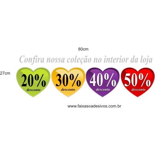Adesivo Cores Coração 0,80 x 0,27cm  - Fac Signs