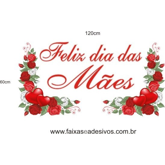 Adesivo Dia das Mães Ramos de Rosas 1,20 x 0,60m  - Fac Signs