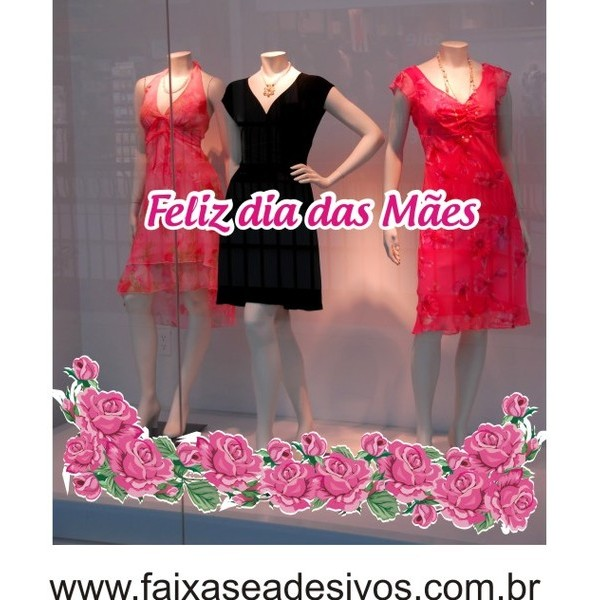 Adesivos Dia das Mães rosas Pink charme 150x50cm  - FAC Signs Impressão Digital