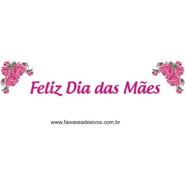 Feliz Dia das Mães Pink canto rosas 200x50cm  - FAC Signs Impressão Digital