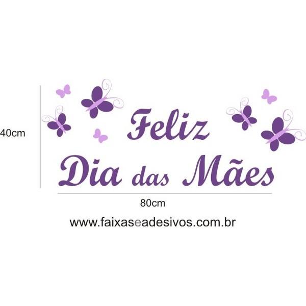 Dia das Mães borboletas roxas 80x40cm  - Fac Signs