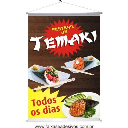 Banner TEMAKI impresso em lona 100x70cm B  - Fac Signs