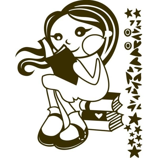 Infatil Adesivo de Parede Menina Livro 60x80cm  - FAC Signs Impressão Digital
