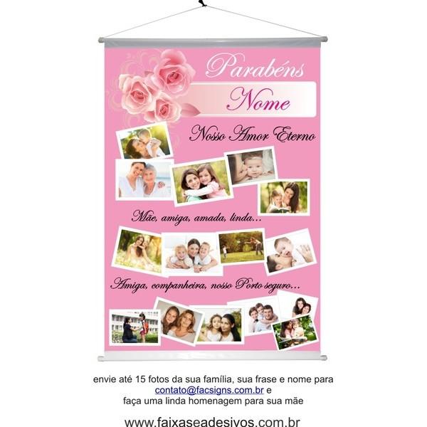 Homenagem para as mães Banner com foto 100x70cm  - Fac Signs