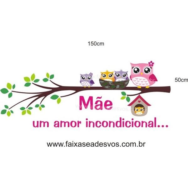 Adesivo Dia das Mães Corujinha 1,50 x 0,50m  - Fac Signs