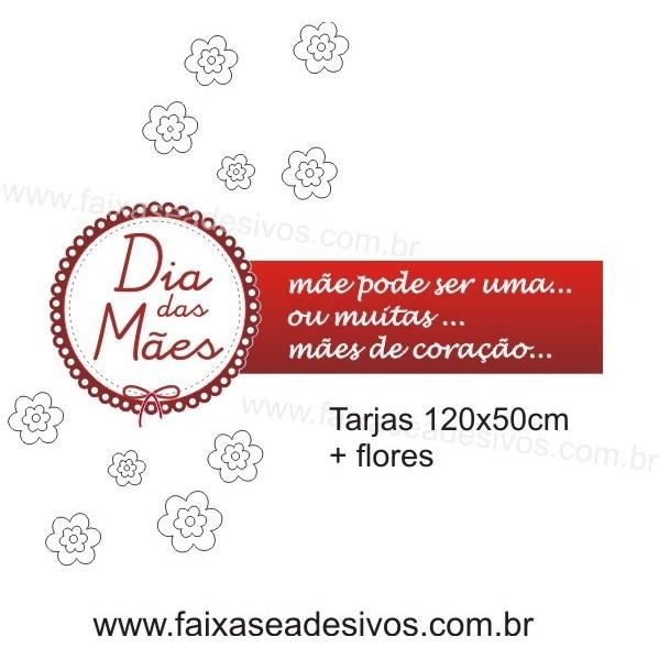 Adesivo Mães de Coração 1,20 x 0,50m com Flores  - Fac Signs